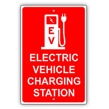 Electric Vehicle Charging Station Ev Reserved Spot Notice Aluminum Metal Sign