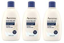3 x Aveeno Skin Relief Moisturising Body Wash 500ml Soothes Very Dry Skin