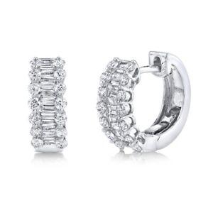 Baguette Diamante Orecchini Fascianti 14K Oro Bianco Rotondo Carini Hoops 1.12CT