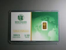1/10 Gram Gold Bar  24K 999.9 Fine Gold Bullion Bar in sealed cert card a1