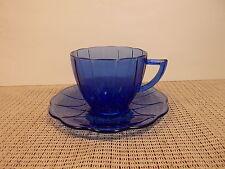 Hazel Atlas Dep. Glass Newport Hairpin Cobalt Blue Cup & Saucer Set