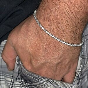 "Real Solid 925 Sterling Silver Tennis Bracelet One Row Men & Women 2MM 6""-8.5"""