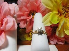Unique Gold Plated Womens Girls CZ Fashion Ring Sz 9