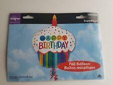 Anagram Happy Birthday Cupcake Foil Balloon 29 x 36 Mylar Super Shape NEW