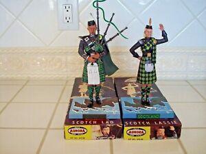 "VINTAGE Aurora ""1958"" Scotch Lad & Scotch Lassie Model Kit Figurines - Set (2)"