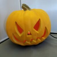 "Halloween Pumpkin Lighted Jack O'Lantern Resin 8"" Mean face"