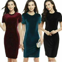 Women Bandage Bodycon Casual Short Sleeve Velvet Evening Party Cocktail Dress