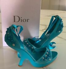 John Galliano for Dior Sandals - Blue Leather with Beading, Sculptural Heel - 40