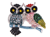 Colorful Rhinestone Gens Twin Owl Couple Lovers Custom Ring Finger Band Jewelry