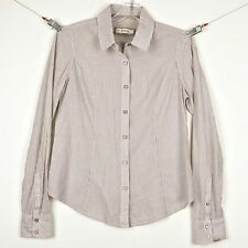 FOSSIL Womens Blouse Size M Button Front Fitted Shirt  Beige Striped 100% Cotton