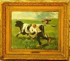 Tableau 19ème Vaches sur toile