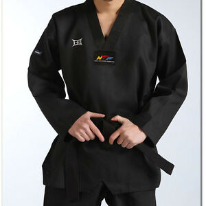 High quality adult men taekwondo trainer suit master black striped uniform