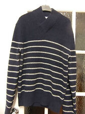 Dark blue jumper with thin grey stripes by Gap.100% cotton knit.size M.new.