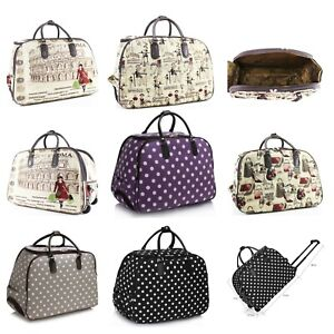 Ladies Women Unisex Checked Print Holdall Weekend Holiday Travel Luggage Bag New