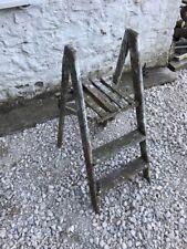 Vintage Wooden 2 Tread Industrial Step Ladder,library Ladder, Wedding, Retail