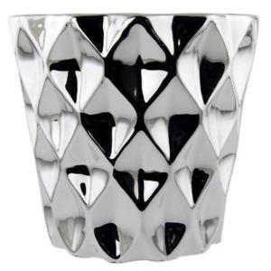 Metallic Diamond Pattern Plant Pot Indoor Outdoor Decorative Planter (Pack of 2)