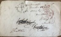 GB 1838 PRE STAMP (FRONT ONLY) SIGNED BY HENRY GRATTAN MP FOR MEATH PMK! DUBLIN