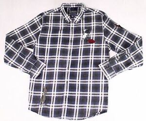 American Rag Black Men XL Patched Plaid Button Down Longsleeve Shirt $45 #964
