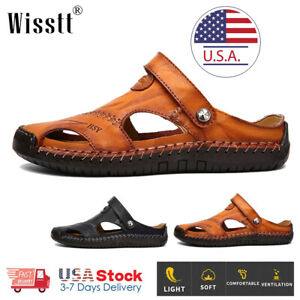 Men's Sport Close Toe Sandals Summer Leather Shoes Beach Outdoor Flat Slippers P