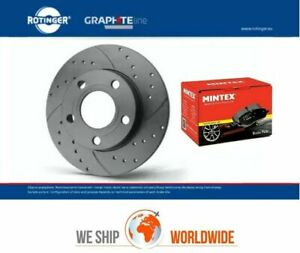 ROTINGER Rear Solid BRAKE DISCS + PADS for AUDI A4 3.0 TFSI Quattro 2012-2015