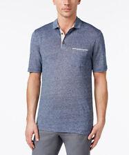 Tasso ELBA Men's Blue Linen Pique Polo Shirt Size XXL Retail
