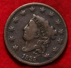 1833 Philadelphia Mint Copper Coronet Head Large Cent
