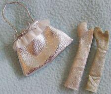 BRATZ Doll Clothes - Silver Metallic Design HANDBAG & Evening GLOVES