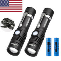 2 Pack Bright 20000lm LED Flashlight USB Rechargeable Tactical Torch