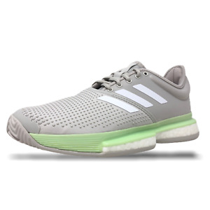 Womens Adidas SoleCourt Boost Tennis Shoes Glow Green/White EF2075 $160.00 (NEW)