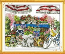 A Sunny Flower Shop Cross Stitch Kit Entièrement neuf sous emballage 14 CT Size 57 X 48 cm