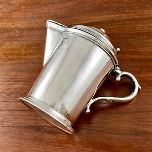 RARE FORM EARLY COIN SILVER LIDDED SYRUP PITCHER / CREAMER