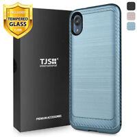 For Motorola Moto E6 Phone Case TJS Thunder Brushed Cover +Tempered Glass