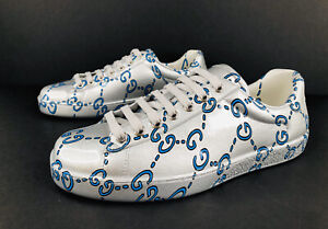 Gucci New Ace GG Ghost Miro Rubber Wax Silver Sneakers Size G 6 - US 6.5 - EU 40
