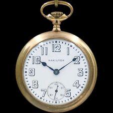 BIG Gold 1913 Hamilton Pocket Watch RAILROAD Grade 936 Unique Dial Heavy 18s 17j