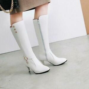 NEW Womens Buckle Strap Fur Lined Leather Chuk Kitten Heel Knee High Boots Long