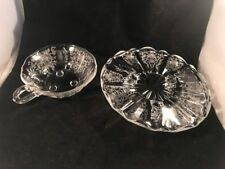"""FOSTORIA BAROQUE FLAME CORSAGE Etched Footed 7.75"""" Tidbit Plate Dish & Nappy"""