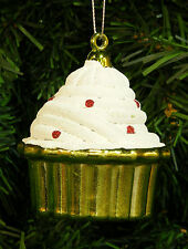 GREEN SHATTERPROOF CUPCAKE CHRISTMAS ORNAMENT w/ WHITE FROSTING & RED SPRINKLES