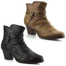 Ladies Womens Mid Block Heel Zip Up Chelsea Ankle Cowboy Biker Boots Shoes Size