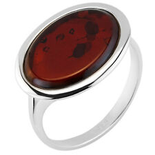 925 Solid Pure Sterling Silver Red Baltic Amber Oval Ring