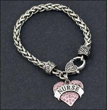 Nurse RN LPN Pink Crystal Heart Silver Bracelet Free Gift Box