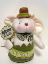 WHITE PLUSH STANDING BOY EASTER BUNNY WELCOME FRIENDS SIGN DECORATION SPRING