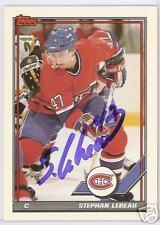 STEPHAN LEBEAU Montreal Canadiens 1992 TOPPS   AUTOGRAPHED HOCKEY CARD JSA