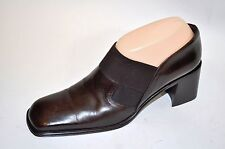 "Via Spiga Brown Leather Womens 2.5"" Heel Slip On Loafer Booties Classic 8.5N"
