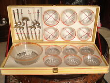 26 Piece Set Vintage/Retro Glass Dessert Bowl, Serving Bowls & spoons in box