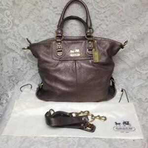 Authentic Coach Madison Antique Gold Leather Shoulder Bag-Dust Bag 16inx12inx4in