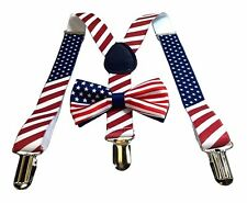 USA American Flag Kids Baby Suspenders and Bow Tie Set Elastic Adjustable