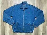 Vtg 90s Polo Ralph Lauren Denim Jean Zip Jacket Small Logo Red Collar USA Sz - S