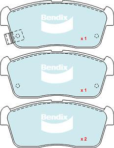 Brake Disc Pad Set Front Bendix DB1674 GCT For SUZUKI Alto Carry Ignis