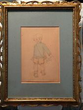 "original drawing framed ""Little Boy Blue"" singed edith hall 1883-1965"