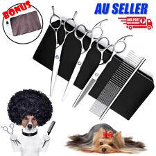 "7"" Professional Hair Cutting Scissors Pet Dog Grooming Kit Curved Shear Set Tool"